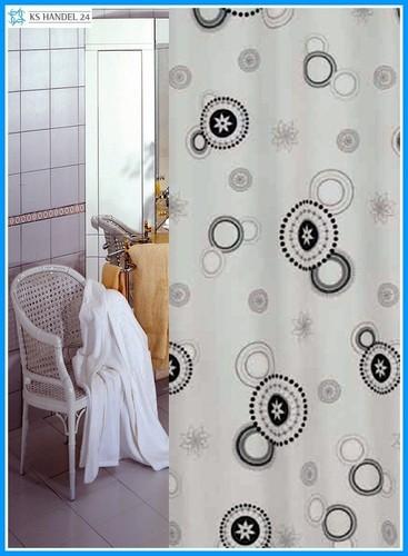 Textil Duschvorhang weiss grau schwarz Kreise 180x200 inkl. Ringe