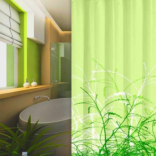 Textil Duschvorhang 120x200 cm Gräser grün inkl. Duschringe