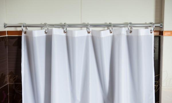 Edler Textil Duschvorhang weiss 120x200 cm inkl. Metallösen und silberne Ringe