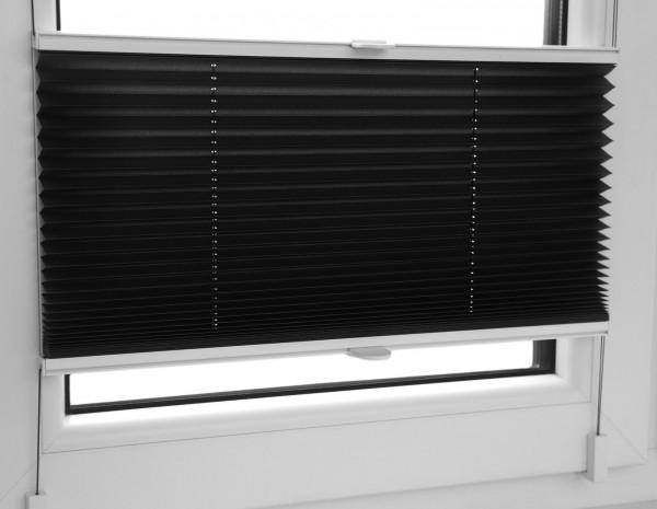 Plissee Faltrollo inkl. Klemmträger schwarz 120x120 cm Jalousie