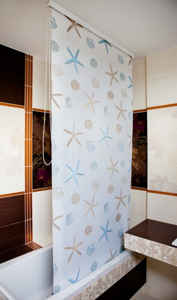 Halb-Kassetten Duschrollo 100x240 cm Modell Oceanic - extra schmal - Sondermaß