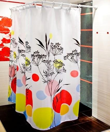Textil Duschvorhang 180x180 cm Gräser bunt weiss rot schwarz gelb