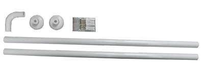 Winkelstange ALU 2er 120x120 cm weiss - extra lang -