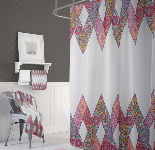 Textil Duschvorhang 180x200 cm bunt Patchwork Mandala inkl. Duschringe