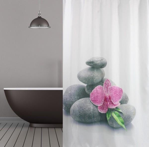 Textil Duschvorhang 180x200 cm Wellness Orchidee weiss grau rosa inkl. Duschvorhangringe