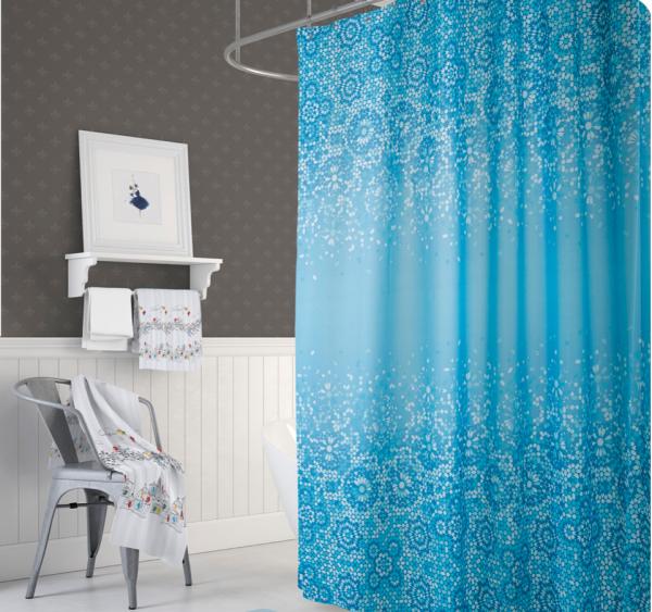Textil Duschvorhang 120x200 cm blau weiß Mosaik inkl. Duschringe
