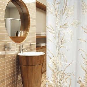 Textil Duschvorhang gold hellbraun weiss 240 x 180 cm inkl. Duschvorhangringe