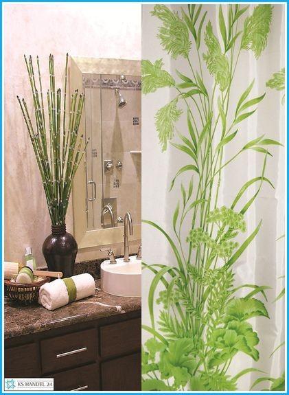 Textil Duschvorhang Blattmuster weiss grün 180x200 cm inkl. Ringe
