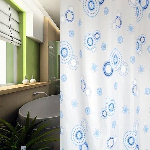 Textil Duschvorhang 180x200 cm blaue Kreise inkl. Duschringe weiß blau 180x200