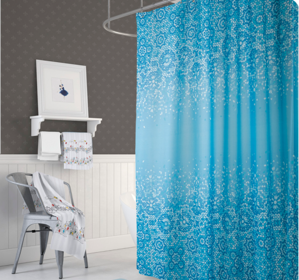 Textil Duschvorhang 180x180 cm blau weiß Mosaik inkl. Duschringe