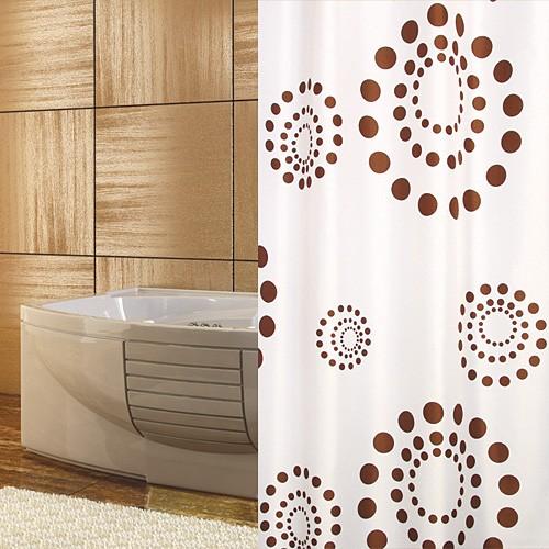 Textil Duschvorhang weiss braun Punkte 120 x 200 cm inkl. Ringe