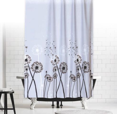 Textil Duschvorhang 240 x 200 cm Grau mit Schwarz Weiss Kreisen inkl Ringe NEU